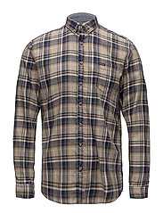 Checked mélange shirt L/S - BLUE