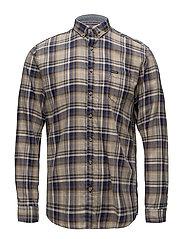 Checked mélange shirt L/S - BLUE