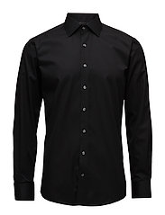 Plain fine twill shirt,WF - BLACK