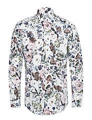 Floral AOP shirt L/S - WHITE