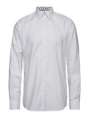 Structure shirt w contrast L/S - WHITE
