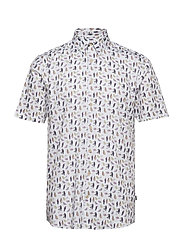 AOP shirt w. resort collar S/S - WHITE