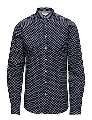 Shirt w. triangle pattern L/S - NAVY