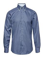 Small jacquard db collar L/S - BLUE