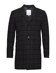 Checked wool coat - GREY CHECK