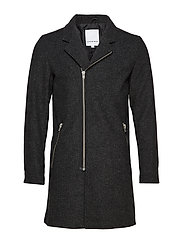 Zipped wool coat - GREY MIX