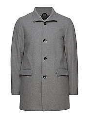 Mens coat with stand collar - GREY MEL