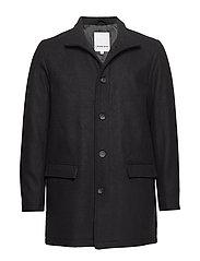 Coat w stand up collar - BLACK