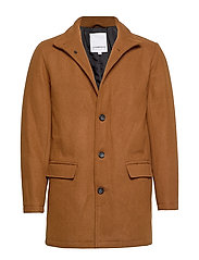 Coat w stand up collar - LT BROWN