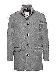 Coat w stand up collar - LT GREY MIX