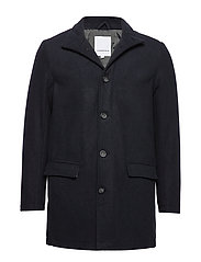 Coat w stand up collar - NAVY