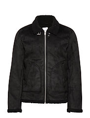 Fake shearling jacket - BLACK