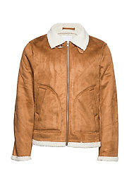 Fake shearling jacket - LT BROWN