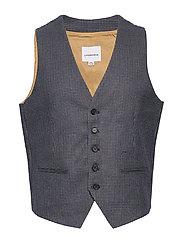 Checked waist coat - BLACK