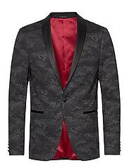 Knitted camo tuxedo blazer - BLACK