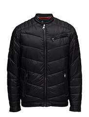 Quilted biker jacket - BLACK
