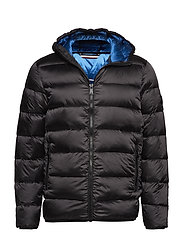 Down puffer jacket with hood - DUSTY BLACK