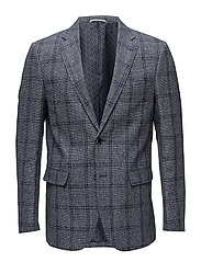 Checked structure blazer - NAVY