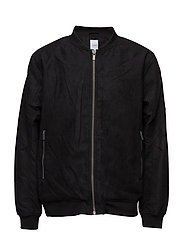 Imitated suede jacket - BLACK