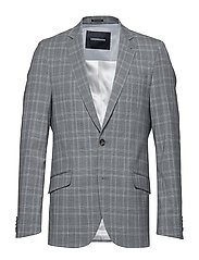 Checked stretch blazer - GREY