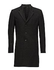Prince of Wales wool coat - BLACK