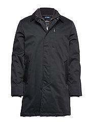 Twill coat w detachable collar - BLACK