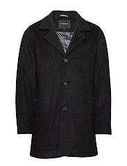 Melange wool coat - BLACK