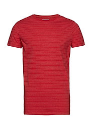 Striped mouliné o-neck tee S/S - NEW RED MIX