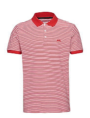 Striped stretch polo shirt S/S - CHERRY RED