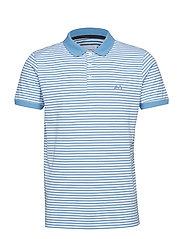 Striped stretch polo shirt S/S - LAKE BLUE