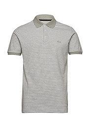 Striped stretch polo shirt S/S - LT GREY MEL