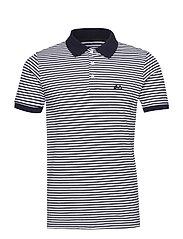 Striped stretch polo shirt S/S - NAVY