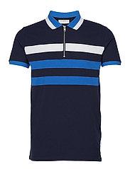 Zipped polo shirt S/S - DK BLUE