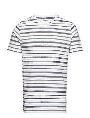 Striped mouliné o-neck tee S/S - WHITE
