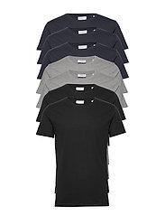 Basic o-neck tee S/S 7 pack - BL/GR/NA