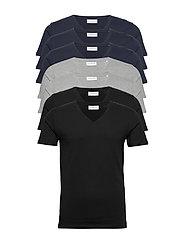 Basic v-neck tee S/S 7 pack - BL/GR/NA