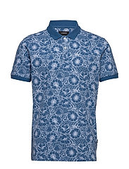 AOP 2 colour polo S/S - BLUE