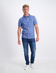 Lindbergh - AOP 2 colour polo S/S - short-sleeved polos - blue - 0