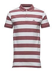 Striped stretch polo shirt - DK PINK