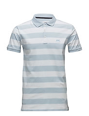 Striped stretch polo shirt - LT SKY BLUE
