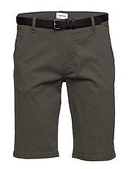 Classic chino shorts w. belt - DARK ARMY
