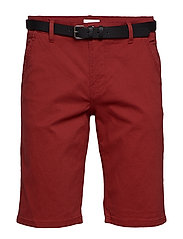 Classic chino shorts w. belt - DUSTY RED