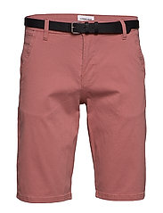 Classic chino shorts w. belt - DUSTY ROSE