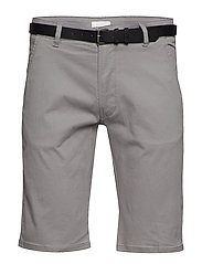 Classic chino shorts w. belt - GREY