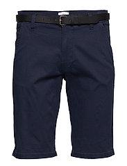 Classic chino shorts w. belt - NAVY