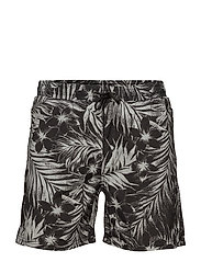 Swim shorts w. tropic print - DUSTY BLACK