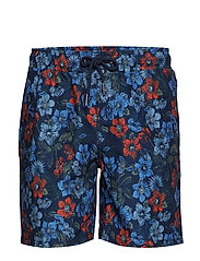 Printed swim shorts - DK BLUE
