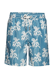Printed swim shorts - LT BLUE