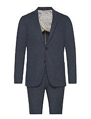 Cotton linen suit - DK BLUE MIX