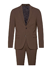 Plain mens suit - BROWN MEL